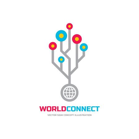 World connect - vector logo concept illustration. Web logo sign. Internet logo sign. Technology logo sign. Network logo sign. Vector logo template. Design element.