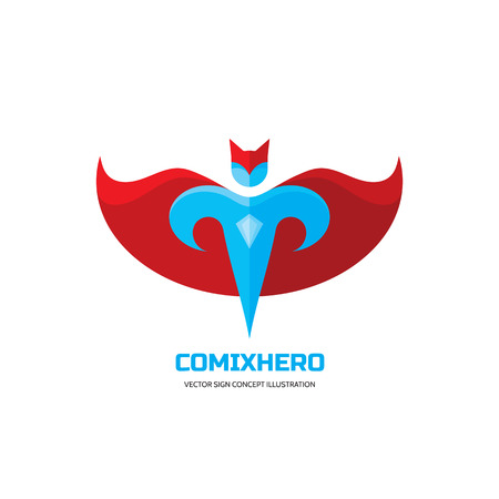 Comix hero - vector logo concept in flat style design. People character. Hero logo. Super logo. Flying man. Human logo. Human icon. Human character illustration. Design element.  イラスト・ベクター素材