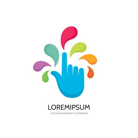 Aanraakscherm vinger - vector logo concept illustratie. Vinger op het scherm aan te raken. Menselijke hand aan te raken van het oppervlak display. Touch screen technologie logo teken. Touch vinger abstract logo. Design element.