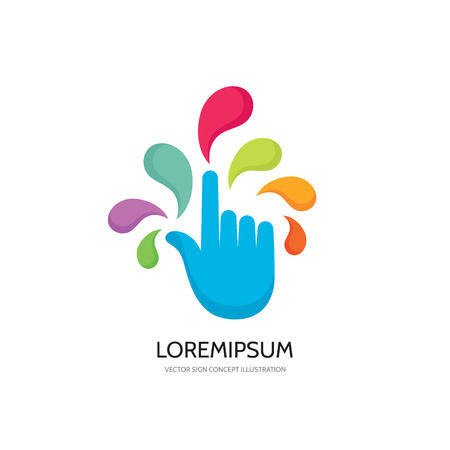 Touch screen finger - vector logo concept illustration. Finger to touch screen. Human hand to touch of surface display. Touch screen technology logo sign. Touch finger abstract logo. Design element.