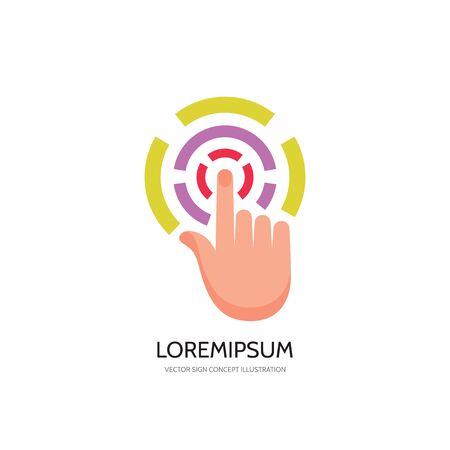 klik: Aanraakscherm vinger - vector logo concept illustratie. Vinger op het scherm aan te raken. Menselijke hand aan te raken van het oppervlak display. Touch screen technologie logo teken. Touch vinger abstract logo. Design element. Stock Illustratie