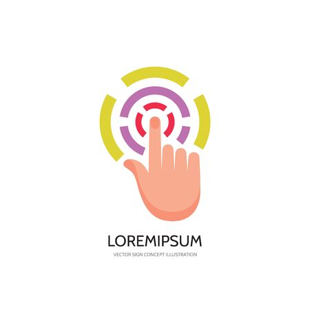 human touch: Touch screen finger - vector logo concept illustration. Finger to touch screen. Human hand to touch of surface display. Touch screen technology logo sign. Touch finger abstract logo. Design element.