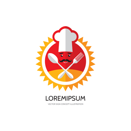 Kitchen, cafe, restaurant, food - vector logo concept illustration. Chef hat, mustache, fork, spoon and sun illustrations. Sunny kitchen logo. Sunny food logo. Vector logo template. Design elements. Illustration