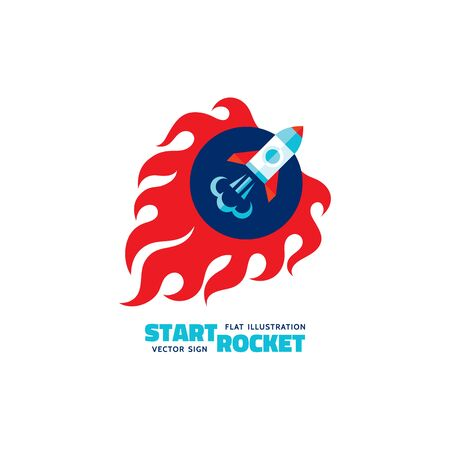 astronautics: Start rocket - vector logo concept illustration. The launch rocket with fire flame shapes. Start-up concept illustration in flat style design. Fire sign illustration. Flame sign illustration. Illustration