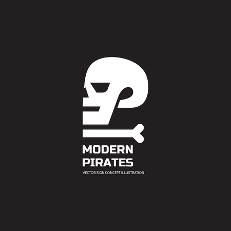 monster face: Modern pirates - vector logo concept illustration. Skull vector logo. Death logo. Dead sign. Skeleton sign. Human skull in profile - vector concept sign. Halloween sign. Jolly Roger modern sign.