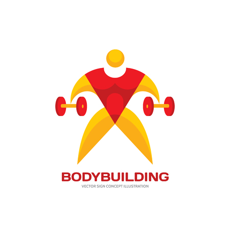 athletic: Body-building - vector creative logo illustration for design projects. Human character logo sign. Bodybuilder logo. Sport logo sign. Fitness logo. Athletic logo. Vector logo template. Design element.