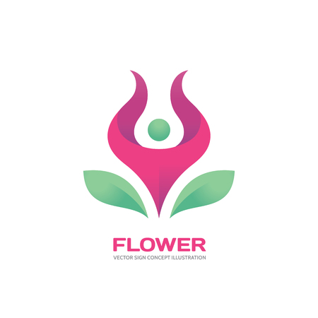 Flor - silueta humana en la flor rosada - Vector de la insignia ilustración del concepto. Insignia de la gente. logotipo de carácter humano. logotipo de yoga. Deja el logotipo. logotipo de la flor. logotipo de la salud. Modelo de la insignia del vector. elemento de diseño.