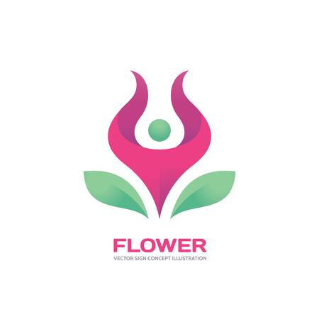 Flower - silhouet van de mens in roze bloem - vector logo concept illustratie. People logo. Menselijk karakter logo. Yoga logo. Bladeren logo. Flower logo. Health logo. Vector logo template. Design element.