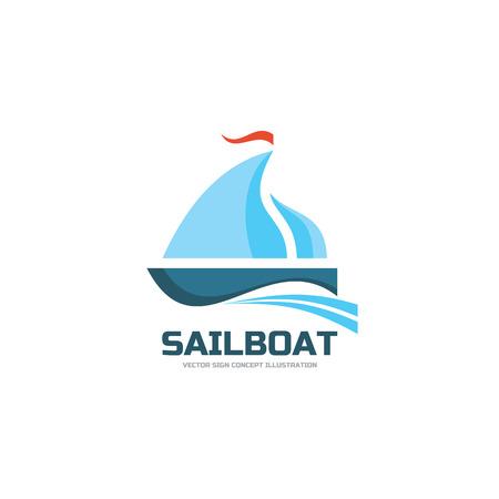 ship sign: Sailboat - vector logo concept illustration. Ship sign. Sea trip logo sign. Vector logo template. Design element. Illustration