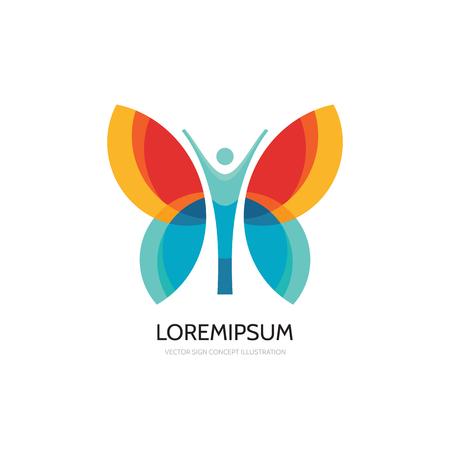 Butterfly vector logo template. Beauty salon - vector logo creative illustration. Human character logo. Abstract butterfly icon. Vector logo template. Design element. Illustration