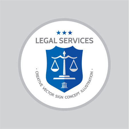 Legal service - vector logo concept illustration in classic graphic line style. Law logo icon. Legal logo icon. Scales logo icon. Court of justice illustration. Scales of justice icon.