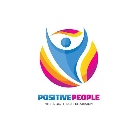 circulo de personas: Las personas positivas - creativo logotipo de la muestra para el club deportivo, centro de salud, festival de música, etc. figura humana abstracto - ilustración vectorial logotipo de la muestra. logotipo de carácter humano. Modelo de la insignia del vector. humano icono.