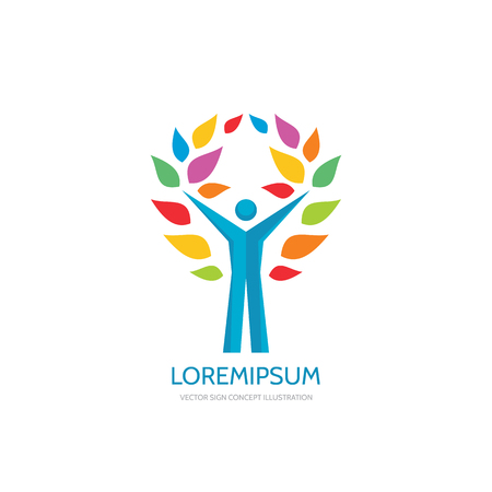 logo music: Positive vector logo concept illustration. Human character logo. People logo. Man logo. Music festifal emblem sign. Internet blog logo. Success logo. Vector logo template. Illustration