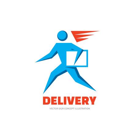 postal: Delivery - vector logo concept illustration. Running man. People character logo sign. Vector logo template. Human logo. Human icon. Human character illustration. Design element.