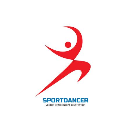 character abstract: Sport dance - vector logo concept illustration. Human character logo. Dancer sign. Gymnastic logo. Human minimalism logo. Karate logo. Dance logo sign. Sport logo sign. Fitness logo minimal sign.