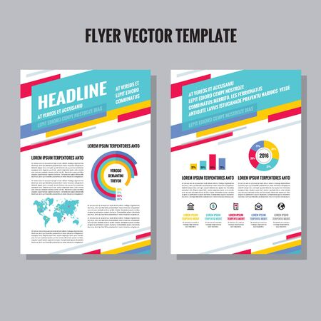 Flyer vector template with infographic, icons and world map. Brochure vector template. Brochure geometric design. Leaflet vector template. Abstract vector background. Infographics design elements.