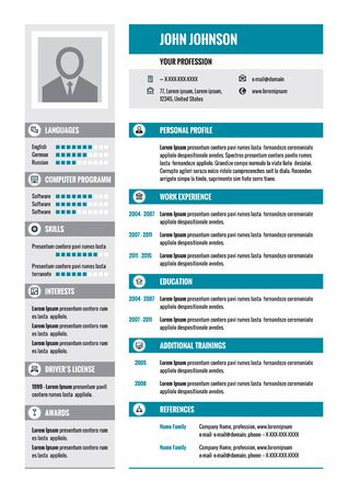 job descriptions: Resume - CV - vector concept layout in A4 format. Business resume - vector template. Modern resume template in gray and blue colors.