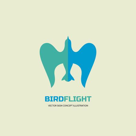 bird logo: Bird flight - vector logo concept illustration in classic graphic style. Bird logo sign. Dove logo sign. Eagle logo sign. Vector logo template.