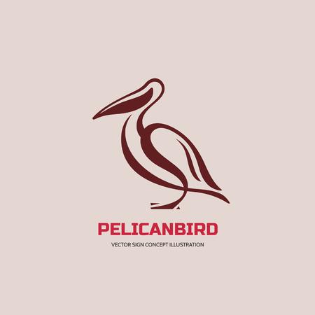 pelicans: Pelican bird - vector logo concept illustration in classic line style. Pelican logo sign. Bird logo sign. Vector logo template. Illustration