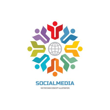 Medios de comunicación social del mundo - vector logo concepto de ilustración. La gente agrupa logotipo de la muestra. El trabajo en equipo logotipo de la muestra. logotipo de la muestra de amistad