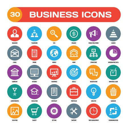 30 business creative icons in flat style for material design projects. Business icons set. Flat icons collection. signs. flat icons for website, blog, mobile application.