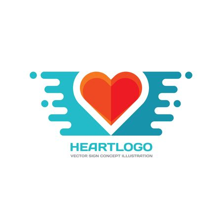 heart sign: Red heart -  concept illustration in flat style design. Heart sign. Valentines Day concept sign. Red heart and design elements. Love sign. Medicine . Healthcare .