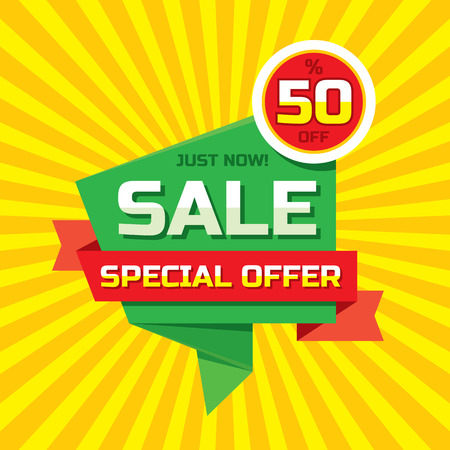 paper hanger: Sale abstract origami - special offer 50 off.  Sale abstract background. Super big sale design layout. Origami sale . Sale  template. Illustration