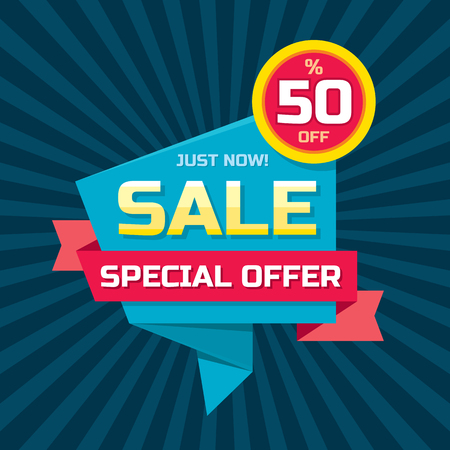 layout: Sale abstract origami - special offer 50 off.   Sale abstract background. Super big sale design layout. Origami sale . Sale template. Illustration