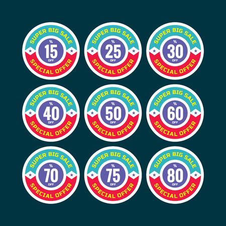 70 80: Sale concept  - 15, 25, 30, 40, 50, 60, 70, 75, 80 off - special offer. Sale circle  stickers. Sale set. Sale stickers set. Sale template.