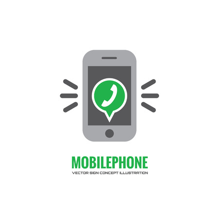programm: Mobile phone and green speach bubble with telephone handset