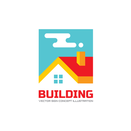 blue roof: Building concept illustration in flat style design.