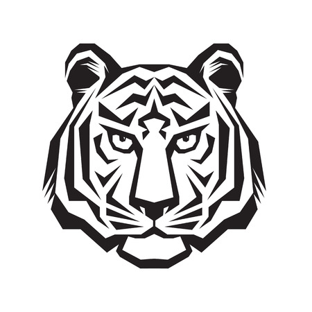 Tiger head concept illustration in classic graphic style.