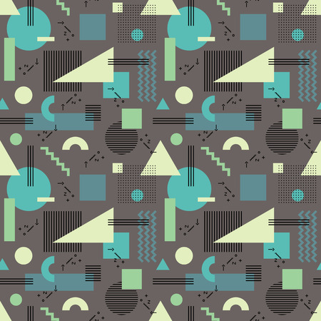 backdrop design: Abstract background seamless pattern in fashion retro style of Memphis italian design group 80s. Abstract geometric seamless pattern for fabric design, paper print and website backdrop.