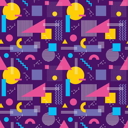 retro pattern: Abstract background seamless pattern in fashion retro style of Memphis italian design group 80s. Abstract violet geometric seamless pattern for fabric design, paper print and website backdrop.