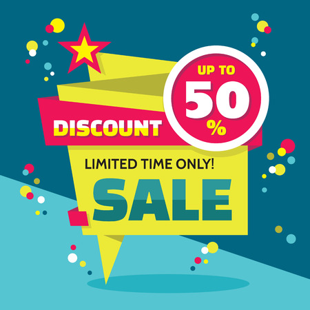special events: Sale abstract vector origami banner - discount up to 50%. Sale vector banner. Sale abstract background. Super big sale design layout. Origami discount banner. Limited time only! Sale banner template.