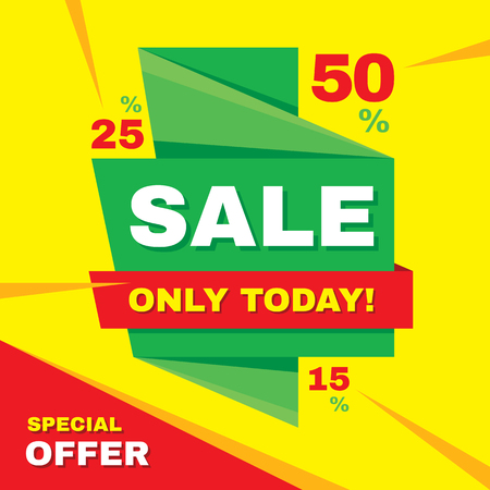 only: Sale abstract vector origami banner - special offer 50% off. Sale vector banner. Sale abstract background. Super big sale design layout. Origami discount banner. Only today. Sale banner template. Illustration