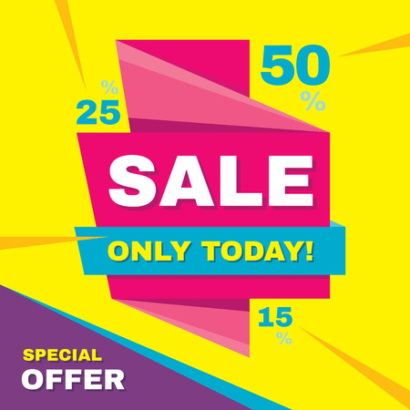 the offer: Sale abstract vector origami banner - special offer 50% off. Sale vector banner. Sale abstract background. Super big sale design layout. Origami discount banner. Only today. Sale banner template. Illustration