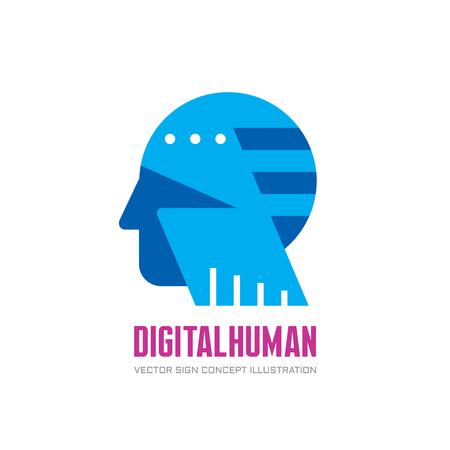 dea: Digital human vector logo concept illustration. Creative idea dea logo. Human head logo icon. Learning logo. Human chip logo. Innovation logo. New technology logo. Modern communication logo. Manager.