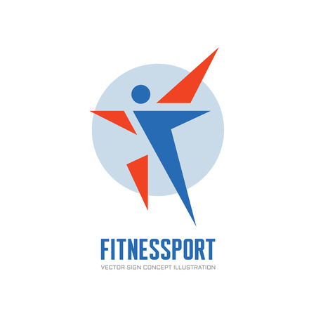 brand activity: Fitness Sport - vector logo concept illustration. Human character vector logo. Abstract man figure logo. People logo. Human icon. People icon. Sport logo. Positive dance logo. Vector logo template.