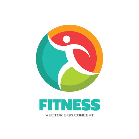 woman run: Fitness - vector logo concept illustration. Human character vector logo. Abstract man figure logo. People logo. Human icon. People icon. Sport logo. Positive logo. Health logo. Healthcare logo.