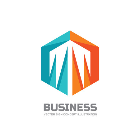 Corporations: Abstract vector logo concept illustration. Hexagon and abstract triangles logo sign. Business corporation logo. Vector logo template. Design element.