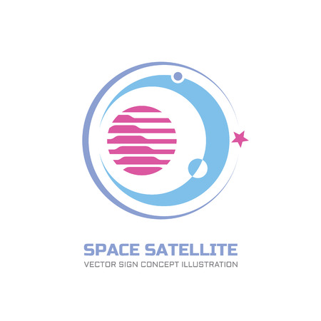 Space satellite vector logo concept illustration in classic graphic style. Astronomy logo sign. Abstract planets illustration. Solar system concept illustration. Galaxy sign. Space logo. Planets logo. Imagens - 54799230