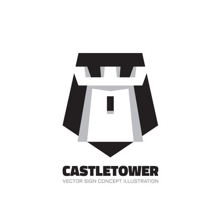fort: Castle tower - vector logo concept illustration in flat style design. Abstract tower of castle vector illustration. Antivirus logo. Protection logo. Vector logo template. Design element.
