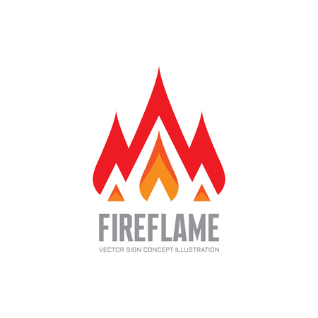 flame logo: Fire flame - vector logo concept illustration. Abstract flame logo sign. Hot logo sign. Warm logo sign. Dangerous sign. Vector logo template. Design element. Illustration