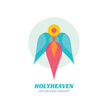 ange gardien: ciel saint - vecteur logo concept illustration. Archangel signe logo. Gardien signe ange logo. caractère humain avec des ailes. Signe de Noël. Vector logo modèle. élément de design.