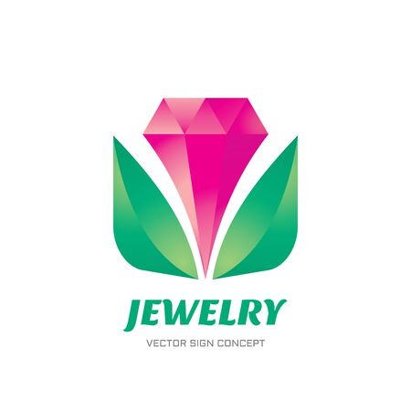 jewels: Jewelry - vector logo concept illustration. Flower tulip logo sign. Crystal diamond logo sign. Vector logo template. Design element. Illustration