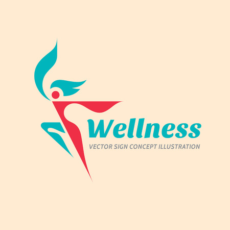 health and fitness: Wellness - vector logo concept illustration. Human character logo sign. Woman logo. Female logo. Sport fitness logo sign. Health logo. Healthy logo. Healthcare logo sign. Vector logo template.