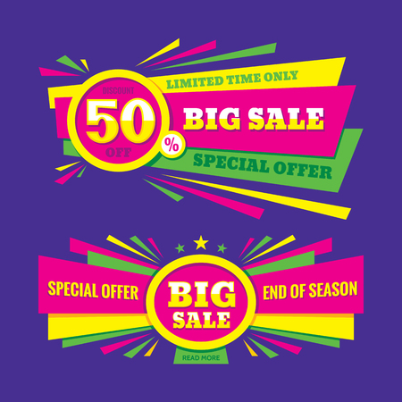 big sale: Big sale vector banner - discount of 50% off. Special offer crerative layout. Limited time only! End of season. Big sale abstract banner design.