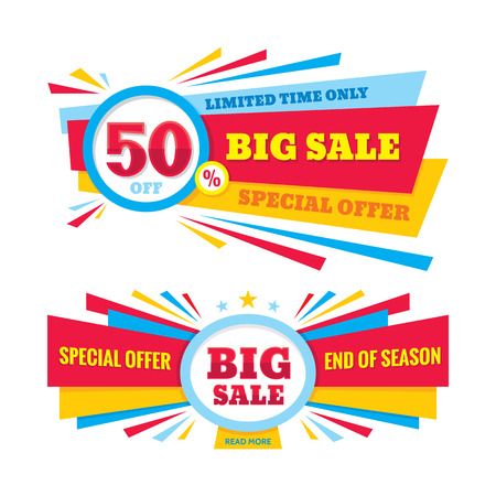 Big sale vector banner - discount of 50% off. Special offer crerative layout. Limited time only! End of season. Big sale abstract banner design. Imagens - 54800439