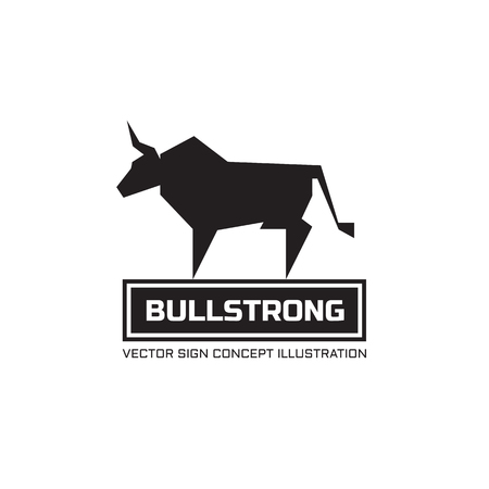 Bull silhouette - vector logo concept illustratie. Animal buffels logo. Taurus minimale illustratie. Vector logo template. Design element. Logo